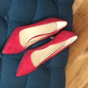 Ann Taylor red suede pumps.  New in box